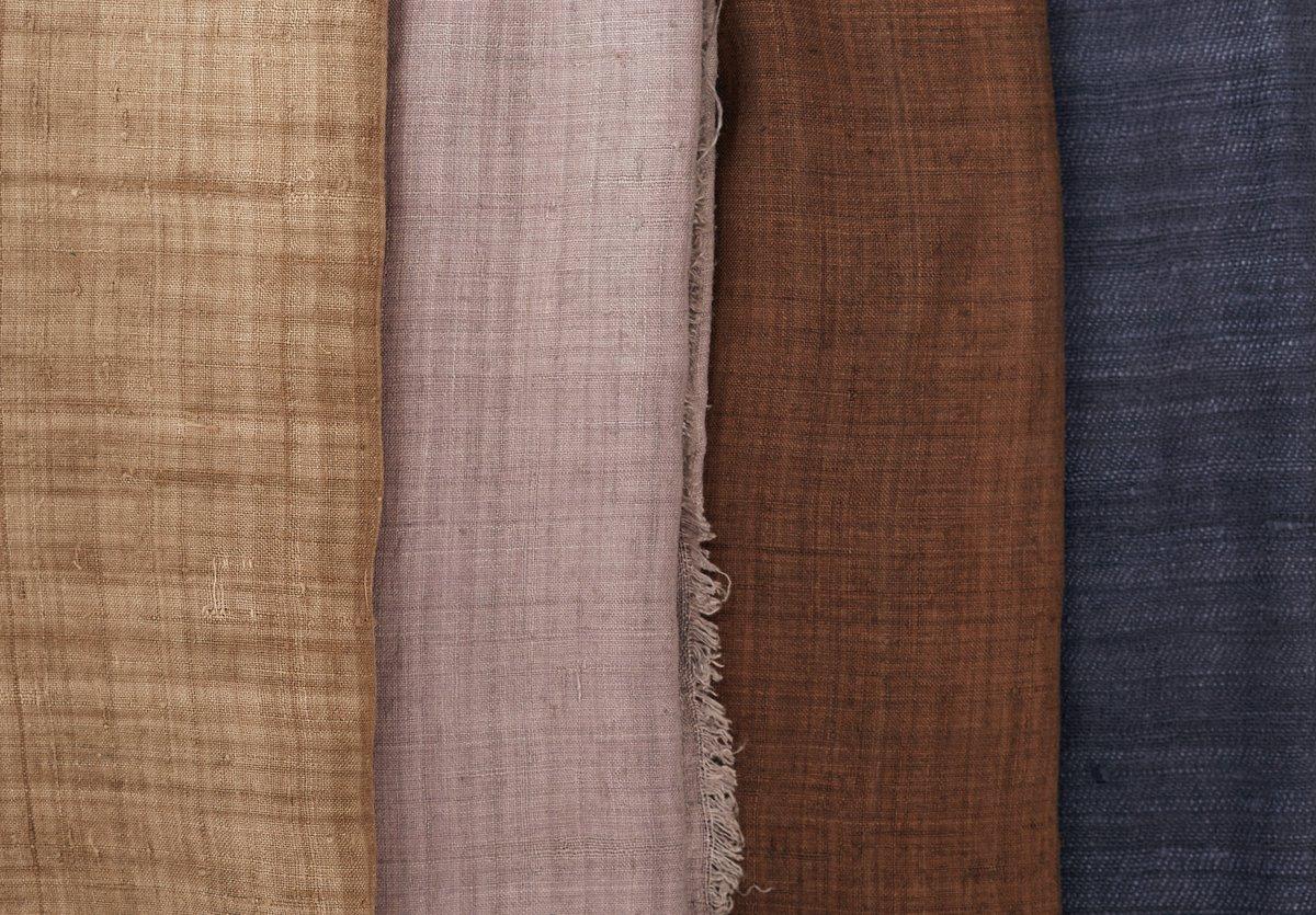 Liz Williamson, Asian Selection, 2020. Handwoven eri silk wraps, all naturally dyed. Photo: Ian Hobbs