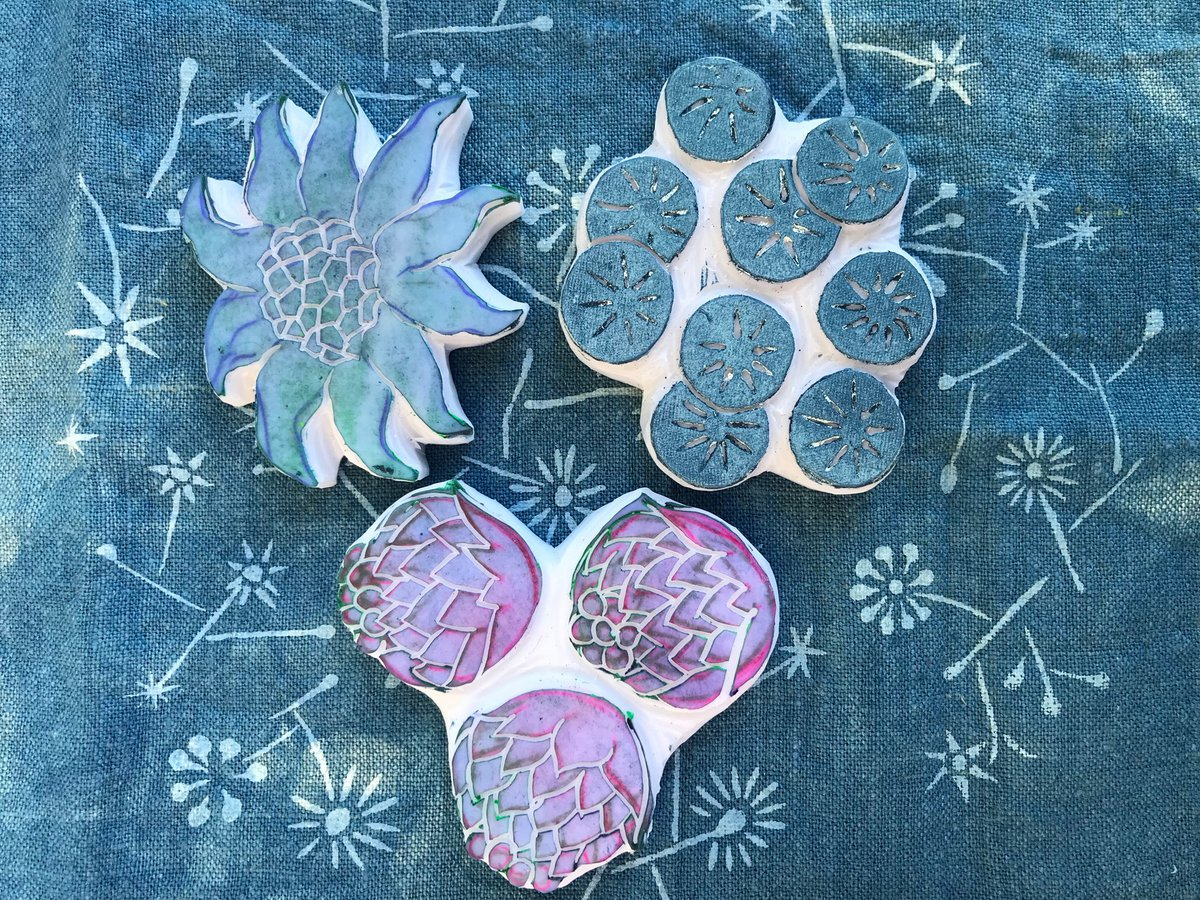 Micaela Christie, Floral Blocks on Indigo,2018, Micaela Christie