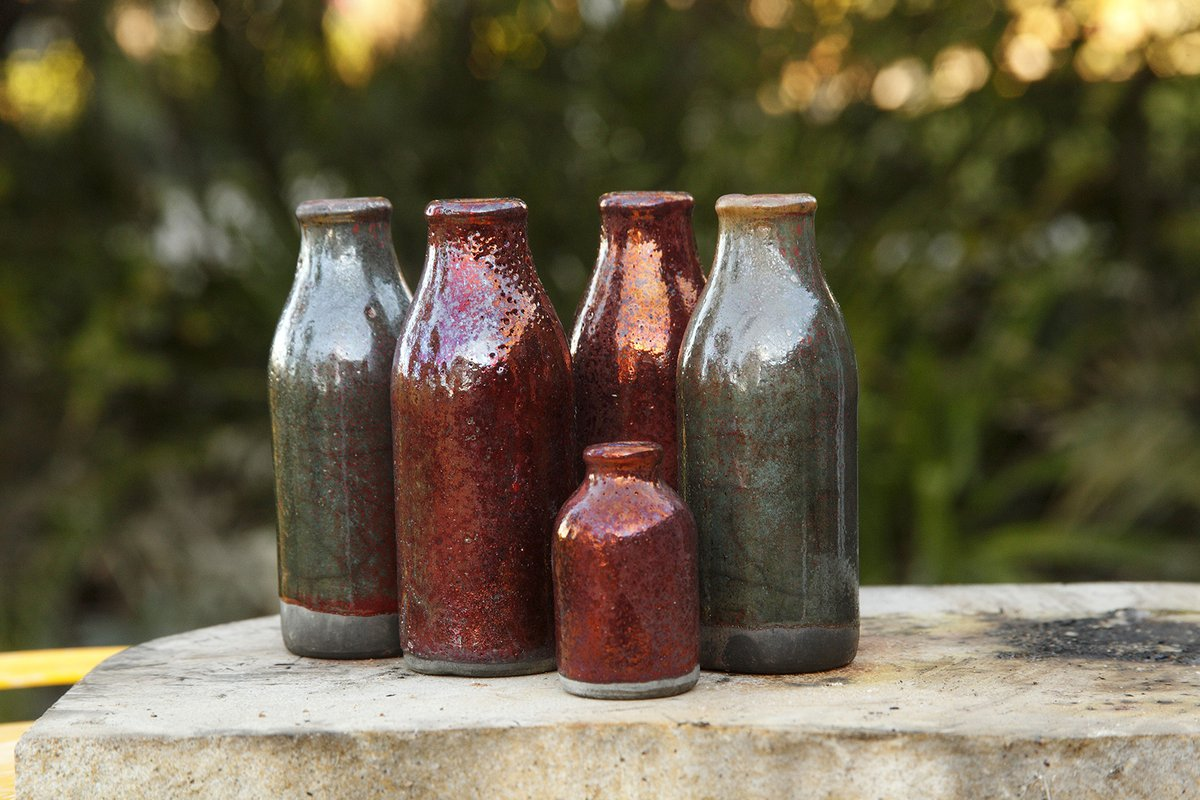 Raku bottles by Kym Thomson (image by Kym Thomson)