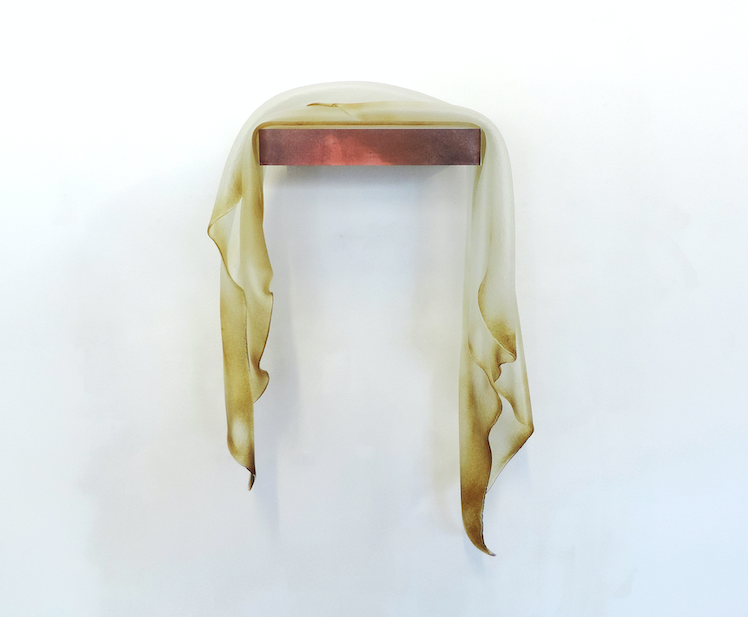 The Creek, 2019, folded glass, photographic image, wall shelf